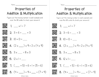 Properties of Addition and Multiplication QR Code Activities