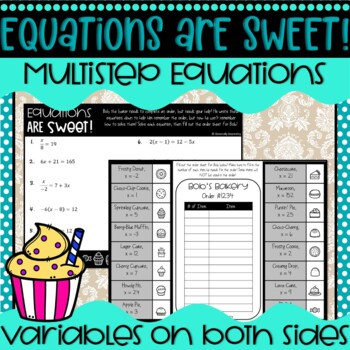 Equations are Sweet! Multi-Step/Variables on Both Sides Equations Activity