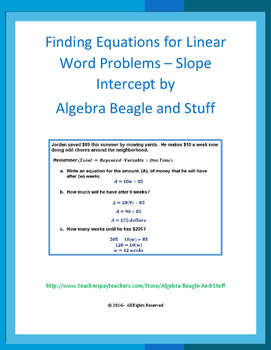 Finding Equations for Linear Word Problems