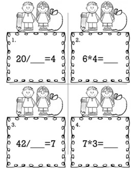 Multiplication and Division  - Scoot Game/Task Cards
