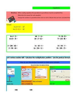 Equations in Excel