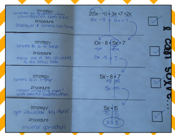 Equations in One Variable Interactive Notebook Foldable (Progression Checklist)