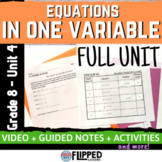 Equations in One Variable Lessons and Activity FULL UNIT Bundle