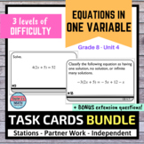 Equations in One Variable Task Cards BUNDLE