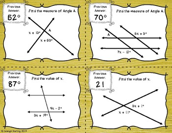 Equations in Parallel Lines Cut by a Transversal Scavenger Hunt