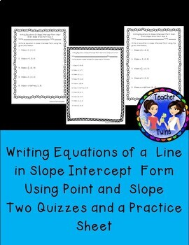 Equations in Slope Intercept Form Using Point and Slope Quiz