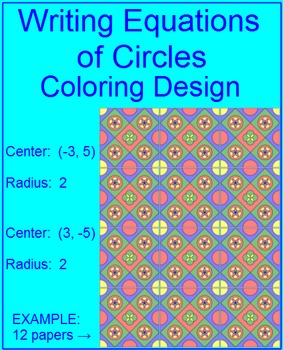 Equations of Circles - #3 Coloring Activity (Using Point/R