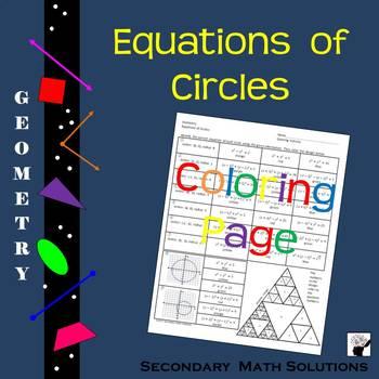 Equations of Circles Coloring Activity (G.12E)