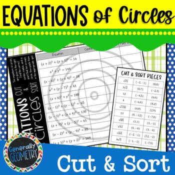 Equations of Circles Cut & Sort; Geometry