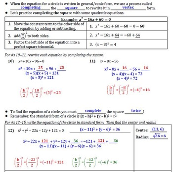 Equations Of Circles Guided Notes For Geometry By Themagicnumber9