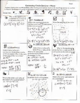Equations of Circles Maze