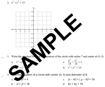 Equations of Circles Practice with Answer Sheet
