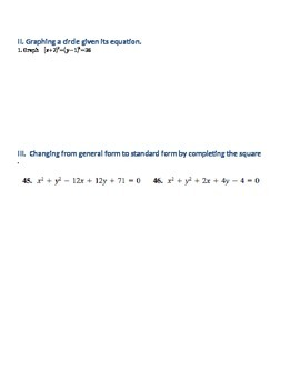 Equations of Circles Review