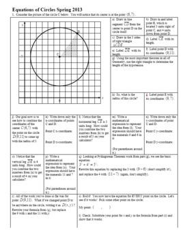 Equations of Circles Spring 2013 (Editable)