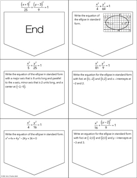 Equations of Ellipses Ladder Activity