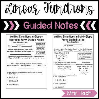 Equations of Linear Functions Guided Notes