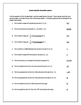 Equations of Lines Activity