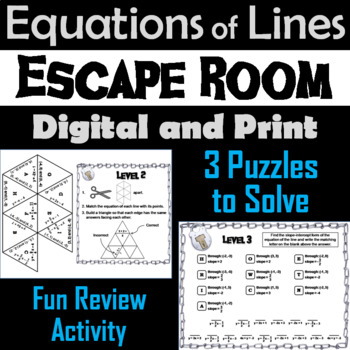 Equations of Lines: Algebra Escape Room - Math