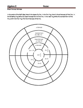 Equations of Lines Bullseye Activity