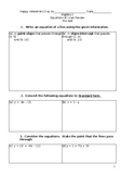 Equations of Lines Review Sheet