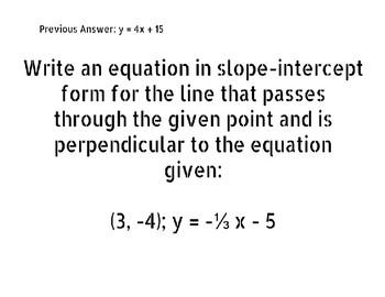 Equations of Lines Scavenger Hunt
