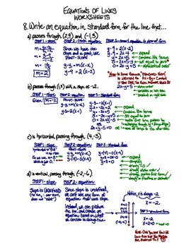 Equations of Lines - Worksheets