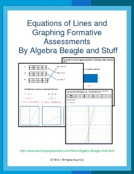 Equations of Lines and Graphing Formative Assessments