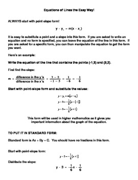 Algebra:  Equations of Lines the Easy Way!