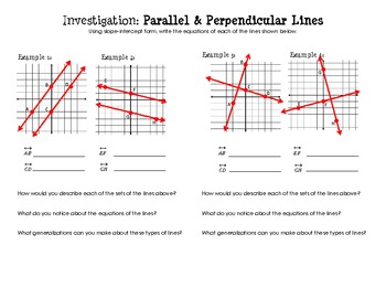 Equations of Parallel & Perpendicular Lines (Discovery Worksheet)