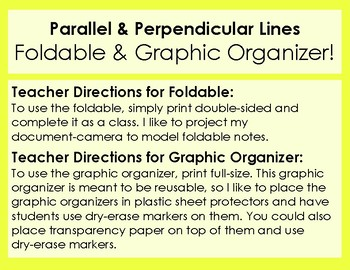 Equations of Parallel & Perpendicular Lines - Foldable & Graphic Organizer