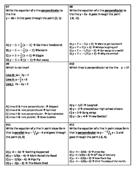 Equations of Parallel & Perpendicular Lines Silly Math Story