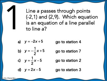 Equations of Parallel and Perpendicular Lines Stations Maze Activity