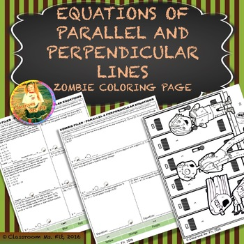 Equations of Parallel and Perpendicular Lines ~ Zombie Coloring Page