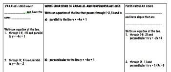 Equations of Parallel and Perpendicular lines Foldable