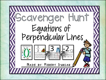 Equations of Perpendicular Lines - Scavenger Hunt
