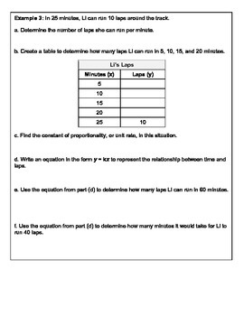 Equations of Proportional Relationships Complete Lesson