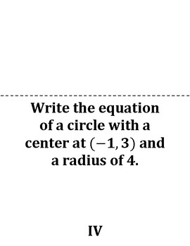 Equations of a Circle Scavenger Hunt Game