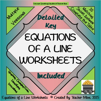 Equations of a Line Worksheets