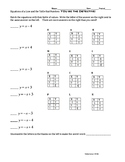 Equations of a Line with Tables & Graphs: Two worksheets: