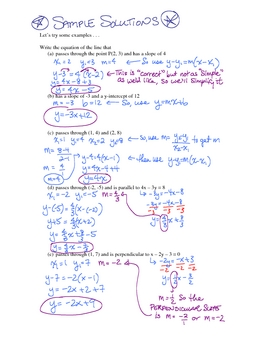 Equations of lines - instructional sheets