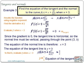 Equations of tangent and normal lines