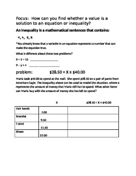 Equations vs. Inequalities notes