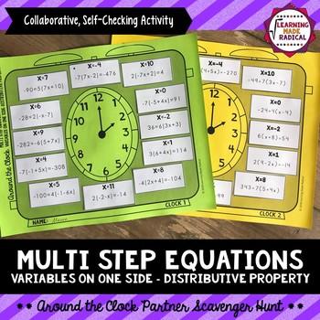 Equations w/Variables on One Side-Distributive Property Partner Scavenger Hunt