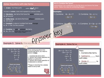 Equations with Combining Like Terms Editable Foldable for Interactive Notebooks