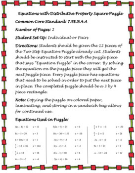 Equations with Distributive Property Square Puzzle (7.EE.4)