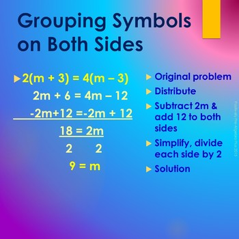Equations with Grouping Symbols PowerPoint