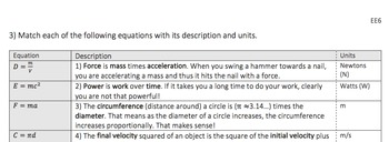 Equations with Multiple Variables (EE6): HSA.CED.A.4, HSN.Q.A.1