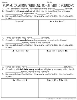 Equations with One, No or Infinite Solutions Notes