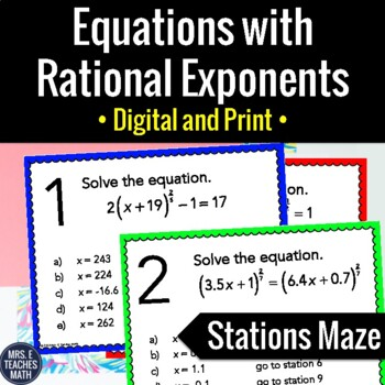 Rational Exponents Equations Stations Maze Activity
