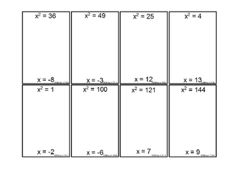 Equations with Squared and Cubed Variables Dominoes